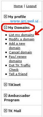 Kontrol Panel Domain tk