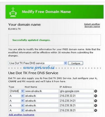 Record A dan CNAME domain tk Sukses