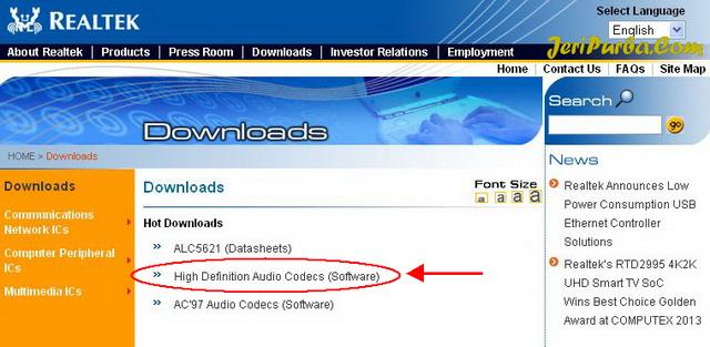 Cara Download Realtek High Definition Audio