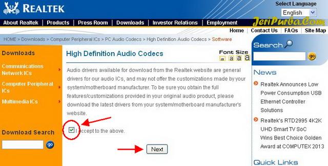 Persetujuan untuk men-Download Realtek High Definition Audio