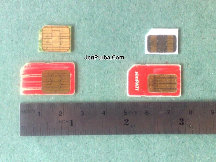 Hasil Pemotongan mini SIM Card ke ukuran micro SIM Card