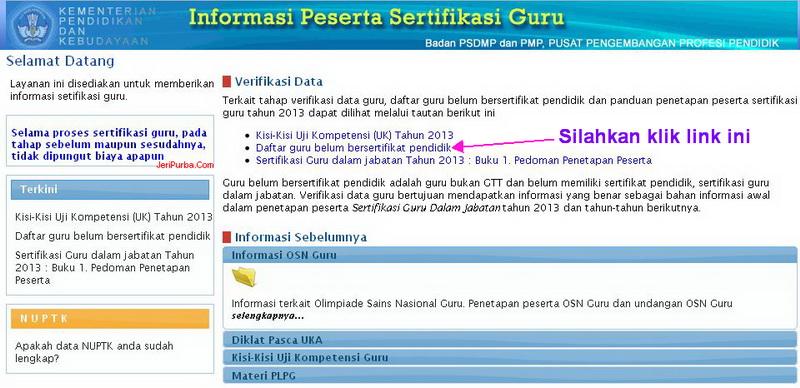 Informasi Peserta Sertifikasi Guru