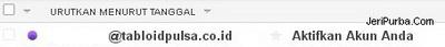 Konfirmasi di email dari Tabloid Pulsa