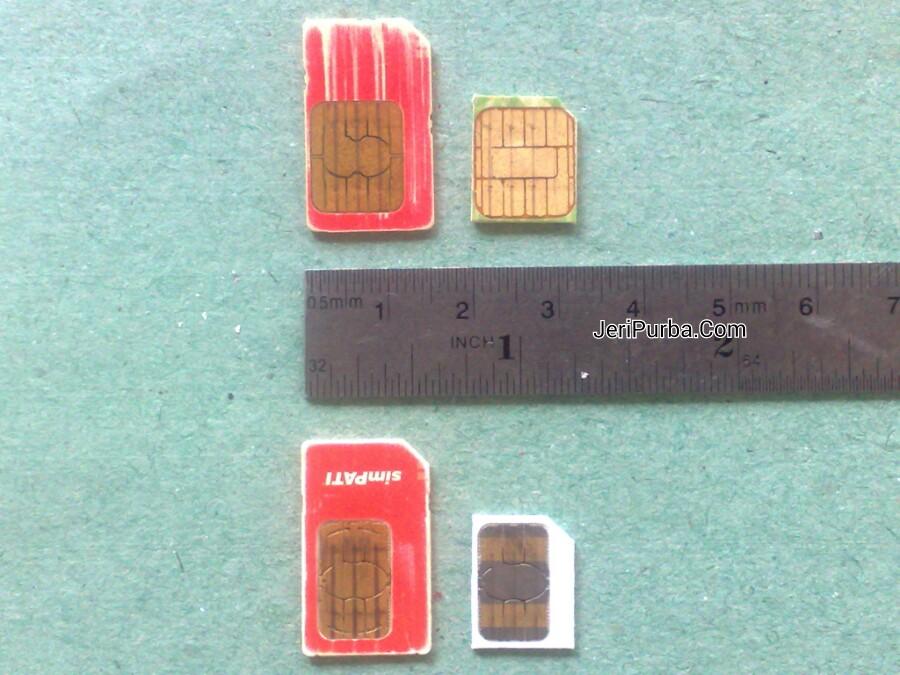 Perbedaan ukuran Chip SIM Card lama dan baru
