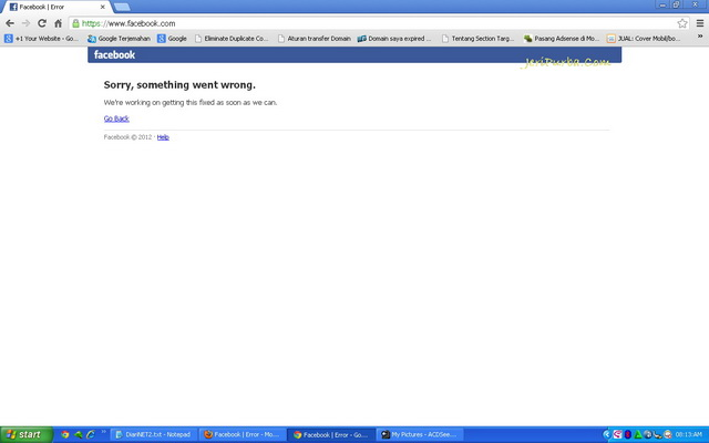 Facebook Down Melalui Chrome