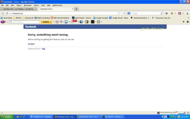 Facebook Error Melalui Firefox