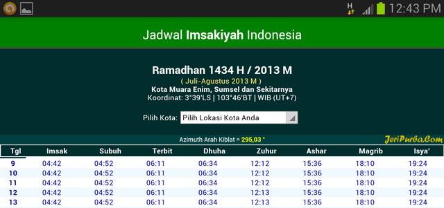 Aplikasi Android Jadwal Imsakiyah 1434 H 2013 M