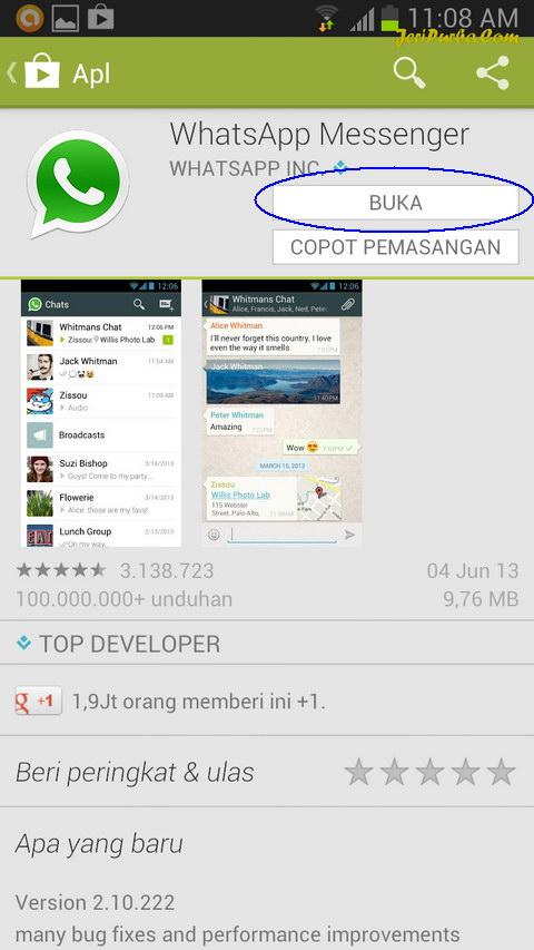 Instal WhatsApp Selesai