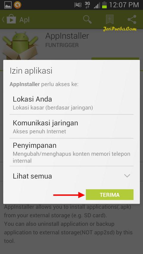 Konfirmasi Persetujuan Pemasangan Aplikasi AppInstaller