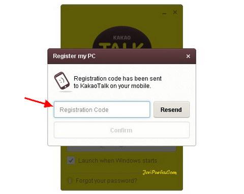Mengirimkan Kode Konfirmasi ke ponsel Untuk Pendaftaran KakoTalk di Laptop