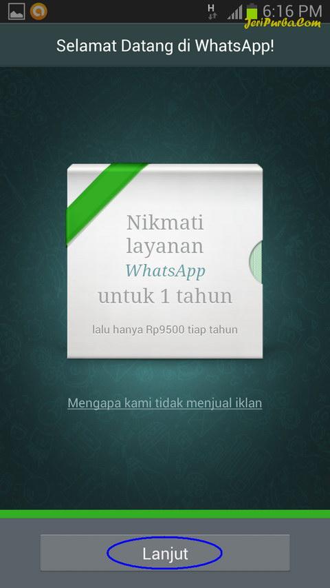 Pendaftaran dan Instal WhatsApp Selesai