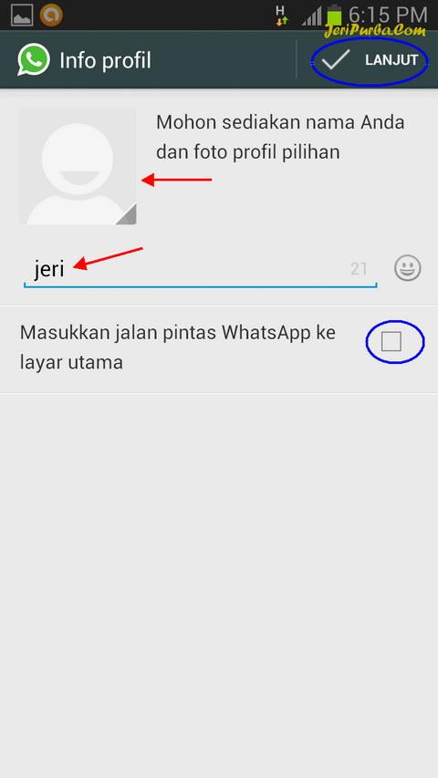 Proses Memasukkan Nama Dan Foto Profil WhatsApp
