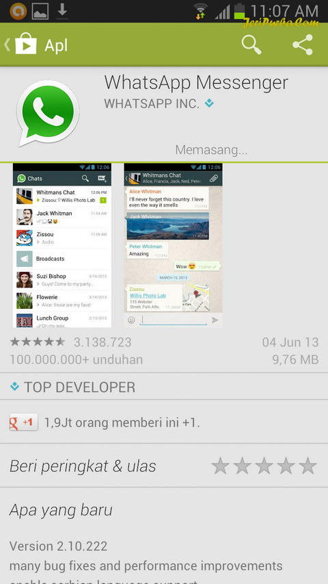 Proses Pemasangan WhatsApp