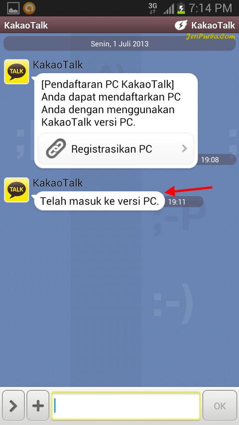 Proses Registrasi KakoTalk Untuk PC Selesai