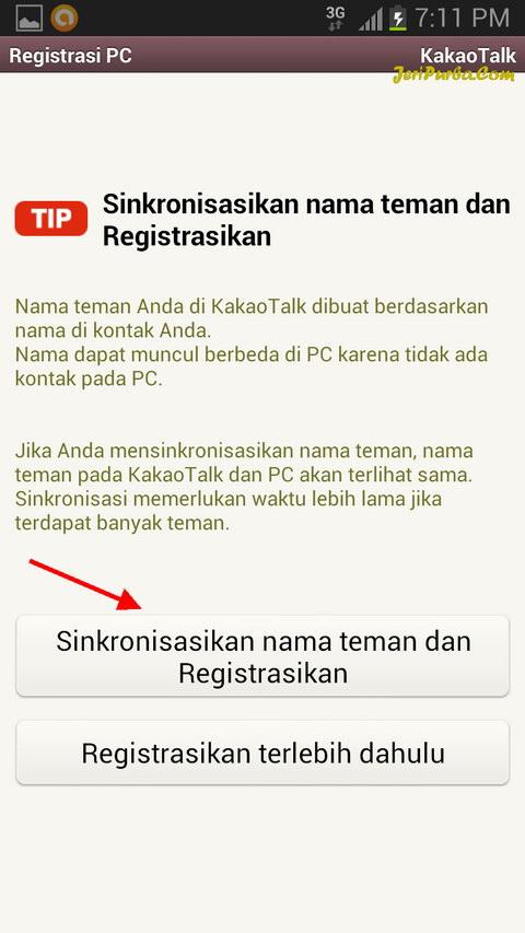 Registrasi KakaoTalk untuk PC dan Sinkronisasi Kontak