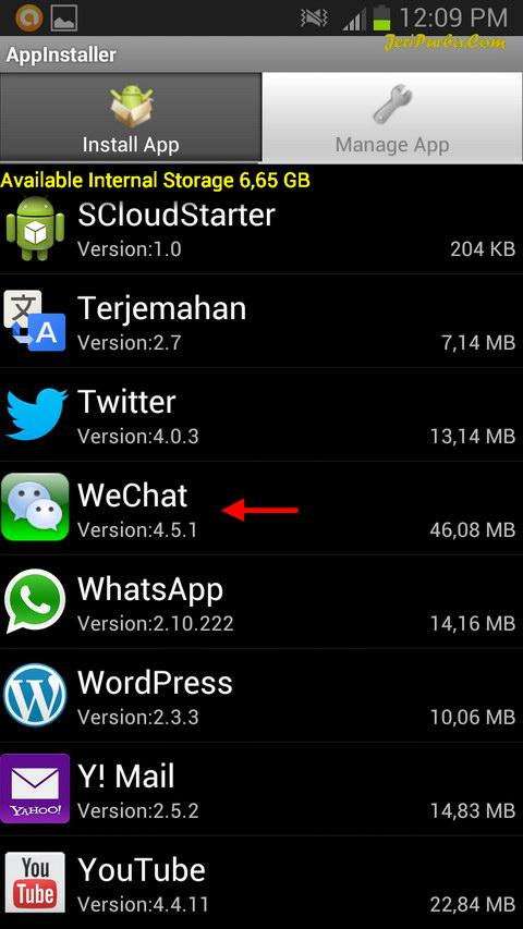Tab Manage Aplikasi AppInstaller