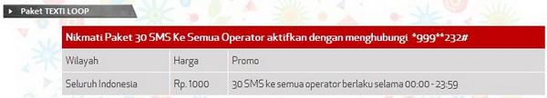 Tarif 30 SMS simPATI Loop Ke Sesama Telkomsel