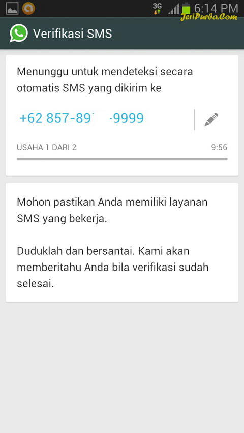 Verifikasi no HP WhatsApp Melalui SMS Secara Otomatis