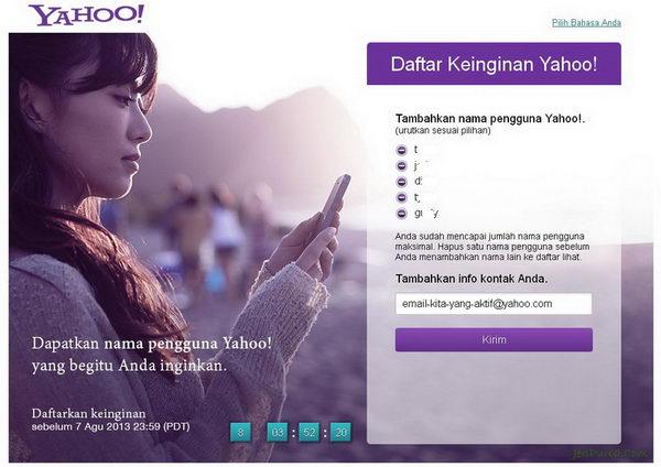 Yahoo! Wish List Nama Pengguna Yahoo