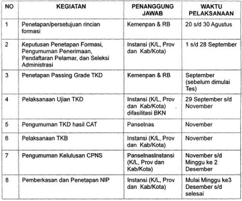 Jadwal Pelaksanaan Seleksi CPNS dari Pelamar Umum dengan Sistem CAT 2013