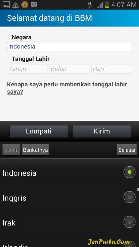 Cara Membuat ID BBM untuk Android pilih Negara