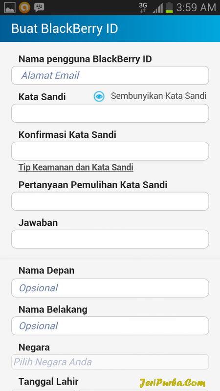 Form Pendaftaran dan Membuat ID BBM untuk Android
