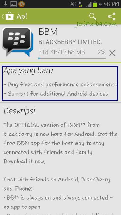 Download BBM untuk Android versi 1.0.0.72