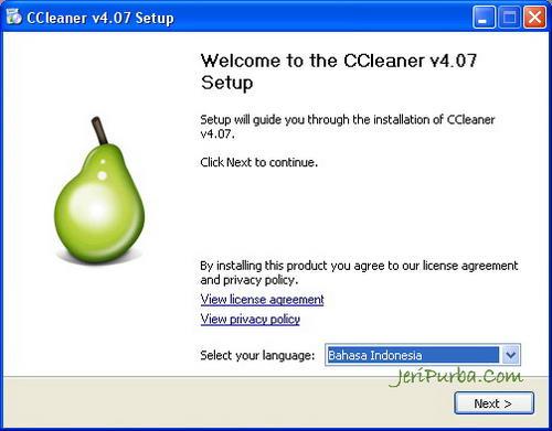Instal CCleaner versi 4.07 Untuk Windows 8.1