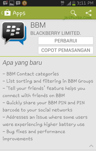 Fitur Baru Aplikasi BBM For Android 1.0.2