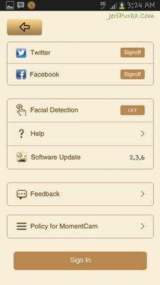 Halaman Setting Aplikasi Edit Foto Karikatur Android Moman Camera Versi 2.3.6