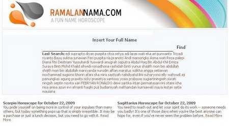 Wajah Lama Situs RamalanNama.com Tahun 2009