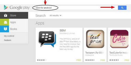 hasil pencarian aplikasi BBM for Android di Google Play Store