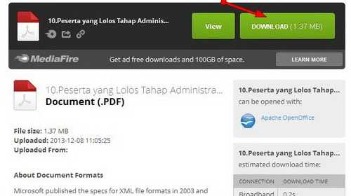 Download Pengumuman PT. Askes 2013 Daftar Peserta Yang Lulus Tes Administrasi