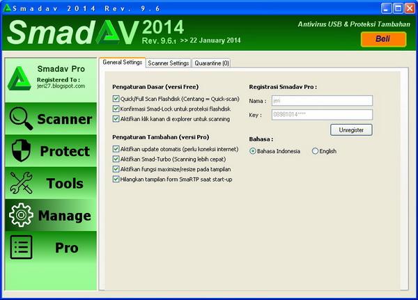 Menu Manage Pada Smadav Pro 2014 Versi 9.6.1 Terbaru