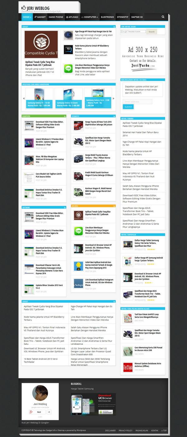 Theme Baru Jeri Weblog di Tahun 2014