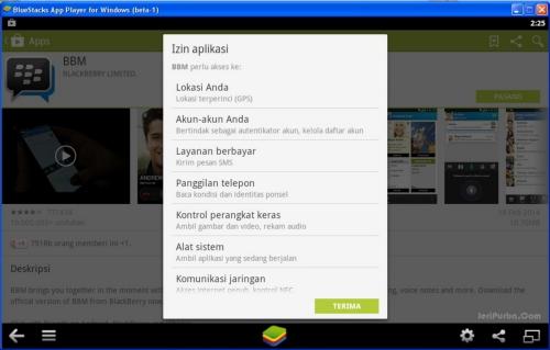 Konfirmasi persetujuan Pemasangan BBM untuk Android Gingerbread