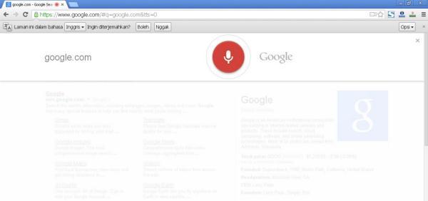 Fitur Pintar Pencarian Google Dengan Suara Menggunakan Google Chrome