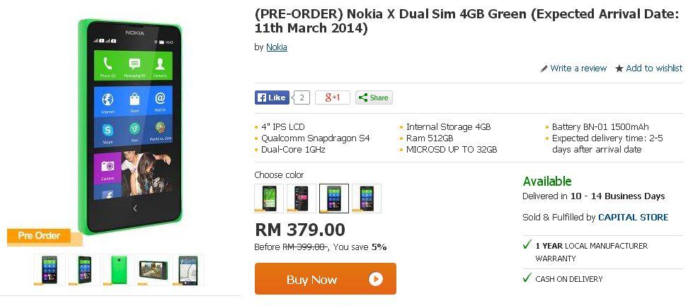 Harga Nokia X Dual Sim Di Malaysia