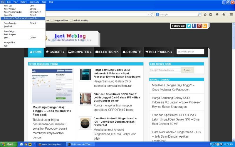 Menu Touch Pada Mozilla Firefox 29 Yang Mendukung Windows 8