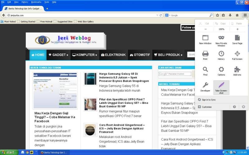 Menu Yang Dapat Di Kustomisasi Pada Firefox 29
