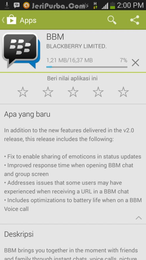 Proses Download dan Update BBM For Android 2.0.0.19