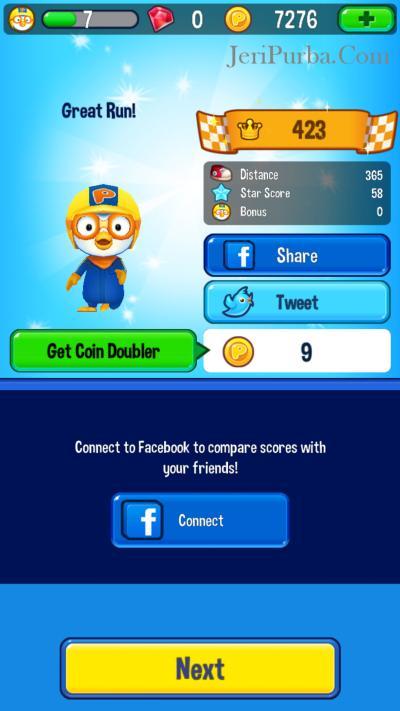 Bagikan Skor Game Pororo ke Facebook dan Twitter