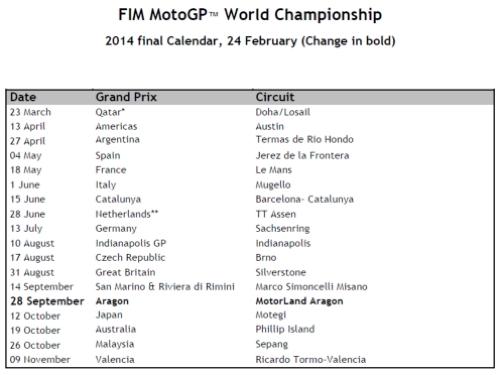 Jadwal Resmi MotoGP 2014