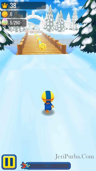 Melewati Jembatan dalam game Pororo Penguin Run