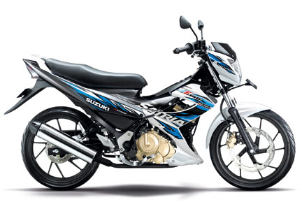 Gambar Motor Suzuki New Satria FU 150 Facelift 2014 Warna Putih (Brilliant White - Dark Gray Metallic)