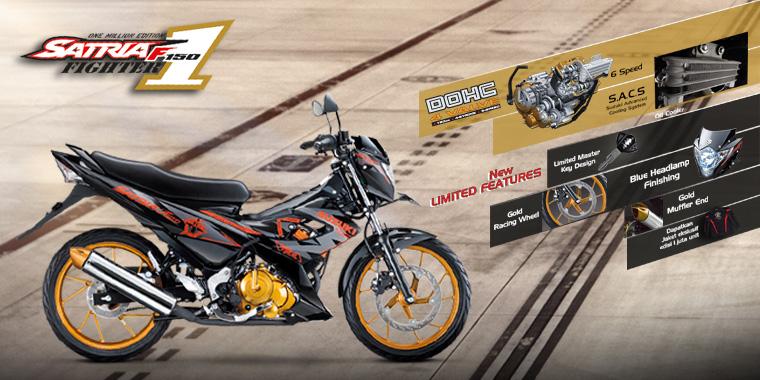 Gambar Motor Suzuki New Satria FU 150 Fighter 1 2014 Gold Dengan Aksesoris