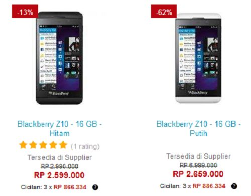 Harga BlackBerry Z10 Di Toko Lazada