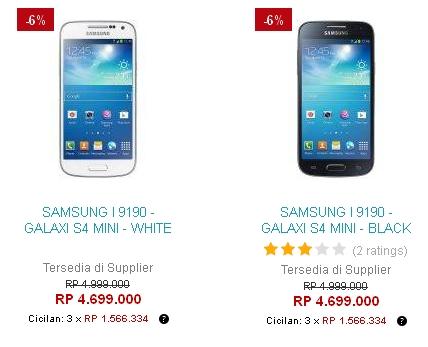 Harga Samsung Galaxy S4 Mini GT-I9190