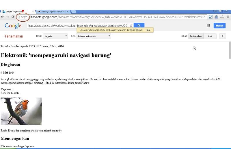 Hasil Terjemahan Halaman Web Dengan Enkripsi Https Menggunakan Google Translate Dengan Google Chrome