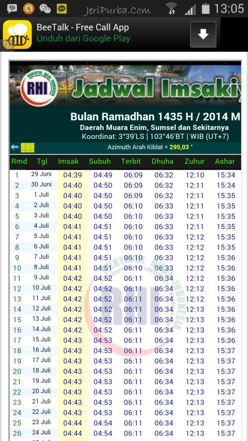 Download Aplikasi Jadwal Imsakiyah 2014 untuk Android